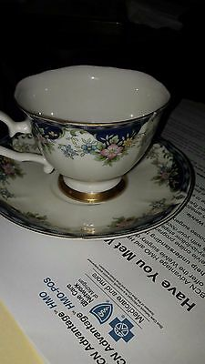 nikko marketing ceramic tea cup and saucer,,white,blue,gold, pink