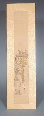 Japan Japanese Watercolor Scroll w/ Still Life Vase decoration signed 19th c.