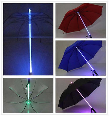 LED Light Up Blade Runner Star Wars Colorful Transparent Umbrella With Flashligh