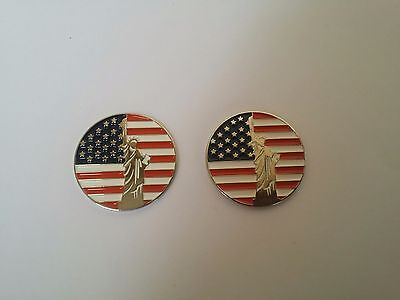 2 pcs OF US Flag w/ Statue of Liberty GOLF BALL MARKER for Golf Hat Clip