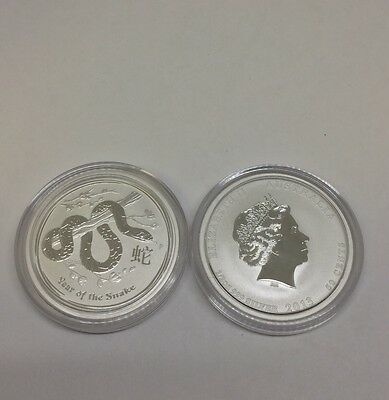 2013 Year of the Snake 1/2 oz Silver Coin Australia Lunar Perth Lot Of 2