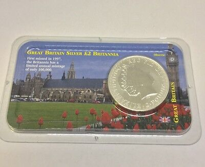 2000 Great Britain Silver Brittania 1oz. 2 Pounds Littleton Coin