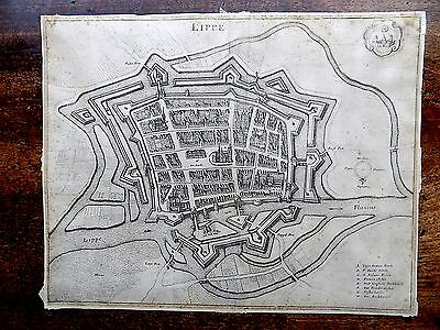 1647 Town Plan Map Lippe Lippstadt Merian Germany Deutchland Antique Map Print