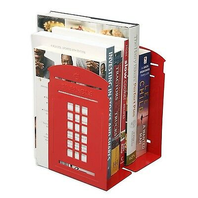 Tobway Newest Creative Telephone Booth Bookend Bookends RacksA Pair (Red) Red