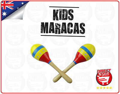 Kids Maracas Educational Toy Hand Held Shakers Wooden Musical Percussion
