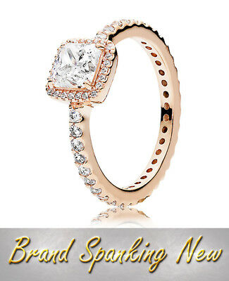 Authentic 925 Sterling Silver  Crystal genuine Ring Rose Gold