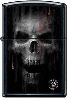 Zippo 2921, Anne Stokes-Skull With Blood, Black Matte Finish Lighter