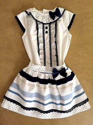 Baby-Girls 2017 Official Spanish Bow Skirt & Blouse Set Ivory & Navy 2 Pcs 6M-6Y