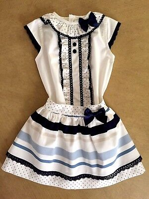 Baby-Girls 2018 Official Spanish Skirt & Top/blouse Set Ivory & Navy 2 Pcs 6M-6Y