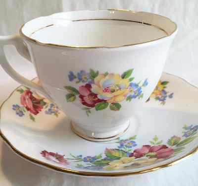 Vintage Crown Essex Bone China Tea Cup and Saucer Set