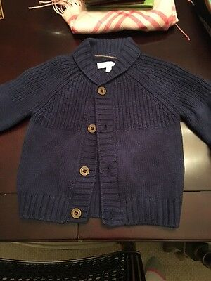 Jacadi boys infant sweater cardigan blue 6 month Months Baby