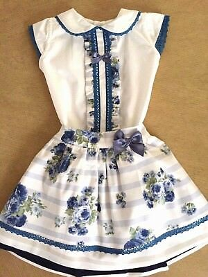 Baby-Girls 2017 Official Spanish Bow Skirt & Blouse Ivory Blue Floral 2 Pcs Set