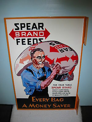 Spear Brand Feed General Store Agway Double Sided Barn Farm Flange Sign
