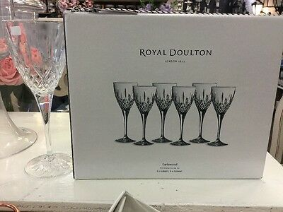 ROYAL DOULTON CRYSTAL EARLSWOOD 6x GOBLET GLASSES GLASS NEW BOX