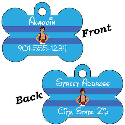 Disney Aladdin Double Sided Pet Id Dog Tag Personalized w/ 4 Lines of Text