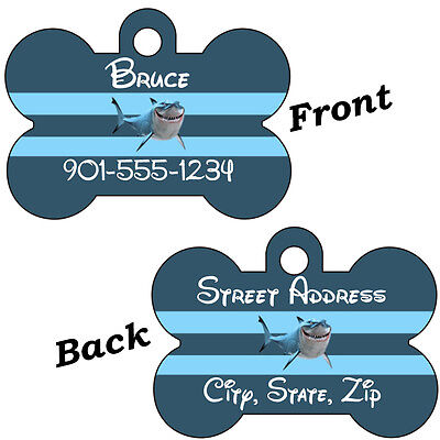 Disney Finding Nemo Bruce 2-Sided Pet Id Dog Tag Personalized w/ 4 Lines of Text