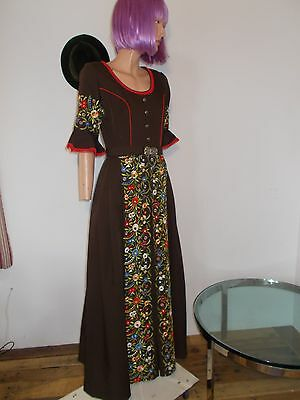 Vtg Trachten Haus Dress Embroidered Maxi *gorgeous* Party Octoberfest Dirndl M
