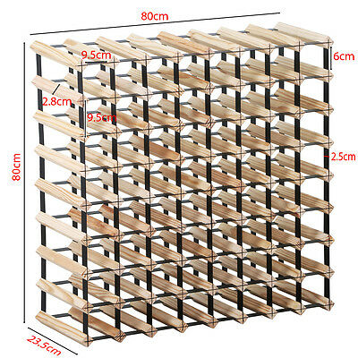72 Bottle 9 Tier Timber Wine Rack Storage Wooden Storage Display Organiser Stand