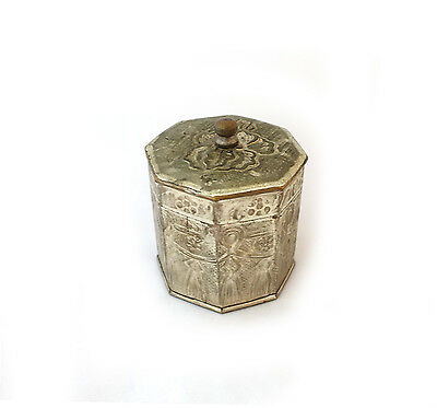 Vintage hand made repousse tribal silver plated eight sided box or tea caddy