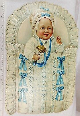 Superb Huge Die Cut smiling Baby Rattle Bed Cute Giant Lovely Victorian Scrap #D
