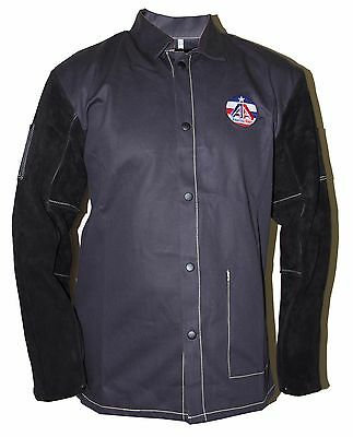 Welding Jacket FR Leather Sleeve Jacket,Cotton/Leather,AA, All Black, XS to 4XL