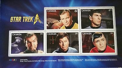 ====> Canada 2016 Star Trek 50th Anniversary 5 Stamp Prestige Souvenir Sheet MNH