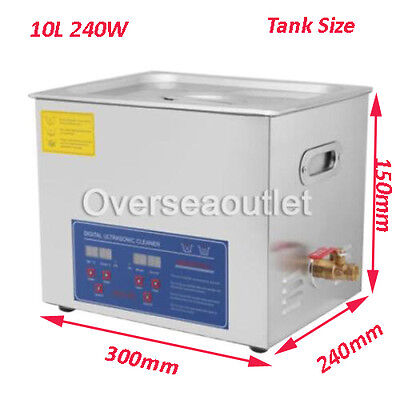 Stainless Steel 10L Liter 240W Industry Heated Ultrasonic Cleaner Heater w Timer