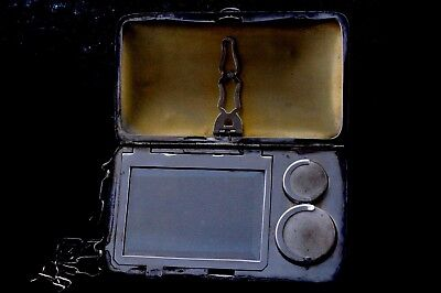 Antique Nickel Silver Compact Coin Purse Wallet Cigarette Cigar Box With Chain