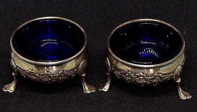 Pair of Antique Sterling Silver Blue Cobalt Glass Lined Master Salt Cellars