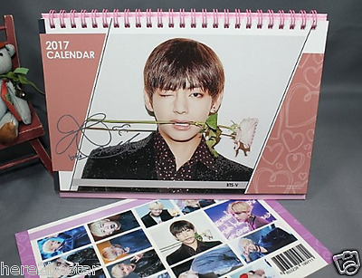 BTS V Calendar Autographed + BTS V Sticker 2017-2018 Two year Desk Calendar