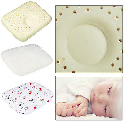 Newborn Baby Infant Latex Soft Pillow Anti Roll Prevent Flat Head Support Neck