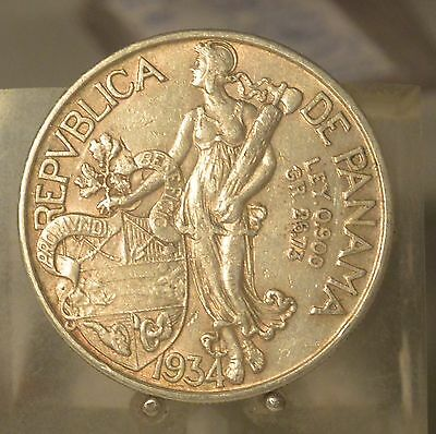 1934 Panama Silver 1 Balboa, Old Silver Dollar Size World Coin