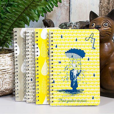 Spiral A6+ 100 Page A-Z Tabbed Index Address Book 3 Drops of Rain Notebook Pad