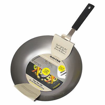 Salter 28cm Professional Carbon Steel Stir Fry Chinese Wok Cooking Dish Oven Pan