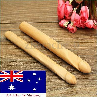 25mm Bamboo Handle Crochet Hook Knitting Needle Weave Pin DIY Crafts AU
