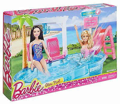New Swimming Pool Barbie Doll Slide Glam Set Summer Playset Pink Beach Summer