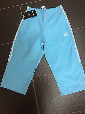 Adidas Salma Girls Blue White 3/4 Trousers Size 11-12 Years New £17.99