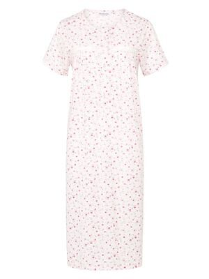 Ladies Floral Short Sleeve Full Button Jersey Nightdress By Slenderella  10-30