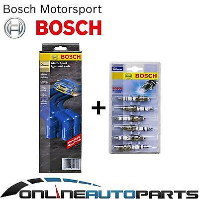 Bosch Ignition Spark Plugs + Lead Kit Holden VK WB 6cyl 3.3L 202B 1980~1985