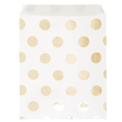 8 Gold Dot Paper Treat Bags Birthday Party Wedding Loot Gift Sweet Favour Bag