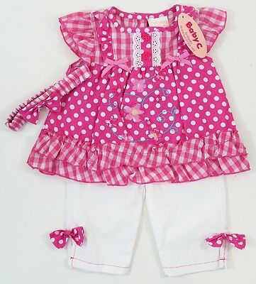 Baby Girls Pink White Polka Dot Floral Top Trousers Hairband Outfit 0-3 Months