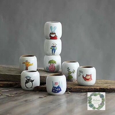 Hand Painted Ceramic Pots/ Desk Planter with Cartoon Patterns