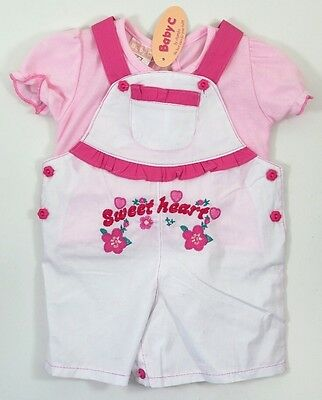 Baby Girls Sweet Heart White Floral Dungarees Pink Frilly Top Outfit 3-6 Months