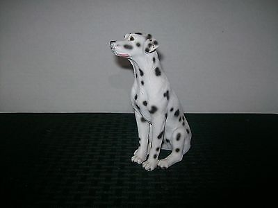 """Vintage Dalmation Sitting Statue Figurine Dated '93 Signed """"Little"""""""