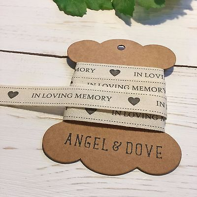 3m In Loving Memory 15mm Printed Cotton Ribbon - Funeral / Celebration of Life