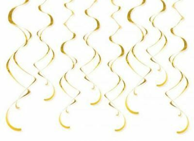 8 Hanging Gold Swirl Decorations Birthday Party Celebration Wedding Anniversary