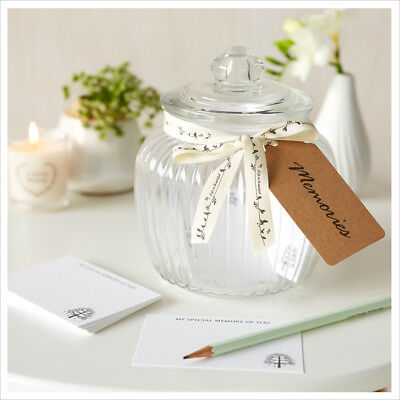 Memory Jar & 50 Remembrance Cards for Funeral, Memory Table, Condolence Book