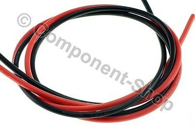 12AWG Silicone Wire. Super flexible high temperature 1m Red & 1m Black UK seller