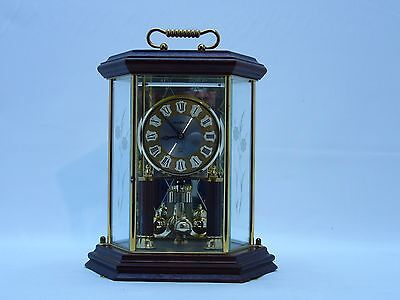 Howard Miller Mantel Wooden Clock Kieninger Germany Dual Chime Etched glass