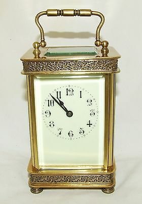 Stunning Antique Brass Carriage Clock with Fretwork Detailing : Working